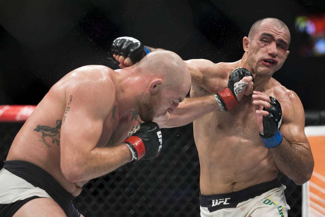 Jordan Johnson, left, battles Marcel Fortuna in The Ultimate Fighter 25 light heavyweight bout at T-Mobile Arena in Las Vegas, Friday, July 7, 2017. Johnson won by unanimous decision. Erik Verduzc ...