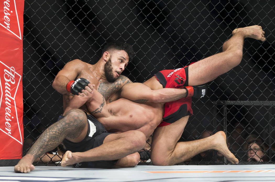 Brad Tavares, left, battles Elias Theodorou in The Ultimate Fighter 25 middleweight bout at T-Mobile Arena in Las Vegas, Friday, July 7, 2017. Tavares won by unanimous decision. Erik Verduzco Las  ...