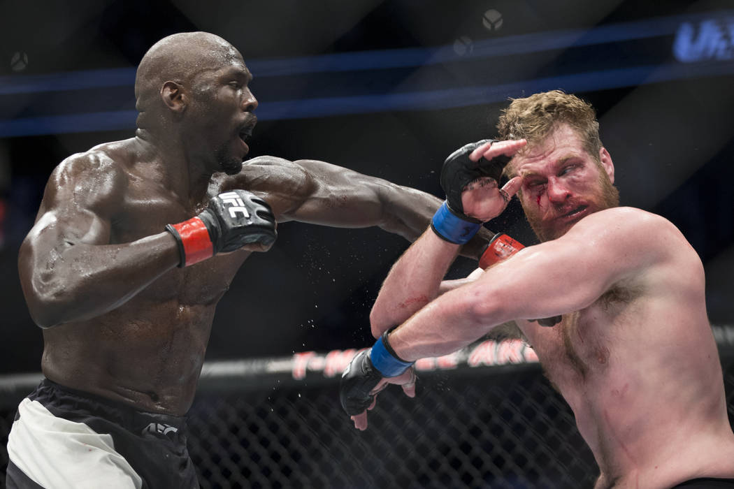 Jared Cannonier, left, battles Nick Roehrick in The Ultimate Fighter 25 light heavyweight bout at T-Mobile Arena in Las Vegas, Friday, July 7, 2017. Cannonier won by technical knockout. Erik Verdu ...