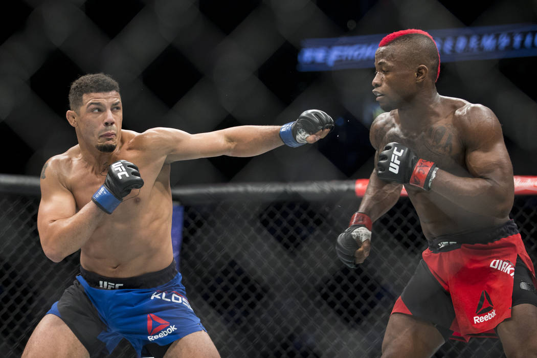 Drakkar Klose, left, battles Marc Diakiese in The Ultimate Fighter 25 lightweight bout at T-Mobile Arena in Las Vegas, Friday, July 7, 2017. Klose won by split decision. Erik Verduzco Las Vegas Re ...