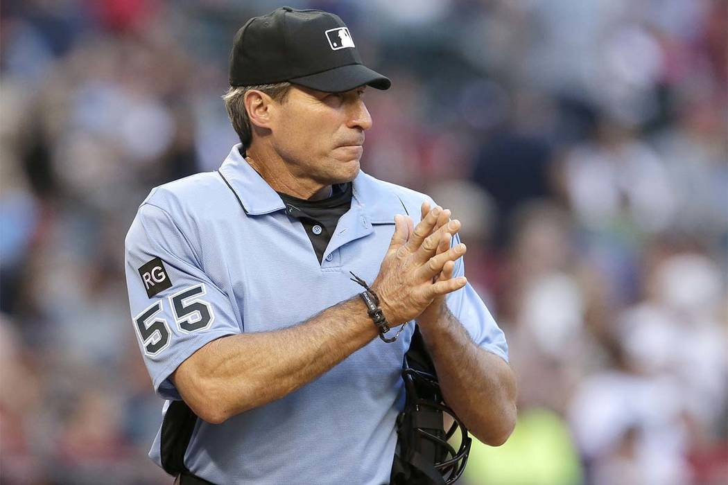 In this April 8, 2017 file photo, MLB umpire Angel Hernandez is seen in the first inning during a baseball game between the Arizona Diamondbacks and the Cleveland Indians, in Phoenix. Hernandez, a ...
