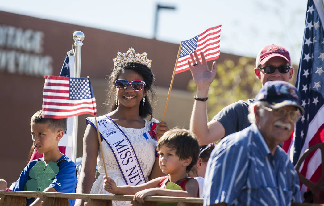 Junior Miss Nevada Jenna Perry looks out to the crowds during the The Summerlin Council Patriotic Parade in Summerlin on Tuesday, July 4, 2017. (Patrick Connolly/Las Vegas Review-Journal) @PConnPie