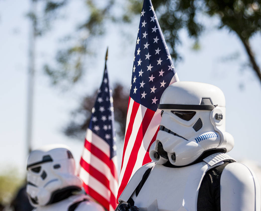 Patriotic stormtroopers march in the Summerlin Council Patriotic Parade in Summerlin on Tuesday, July 4, 2017.  (Patrick Connolly/Las Vegas Review-Journal) @PConnPie