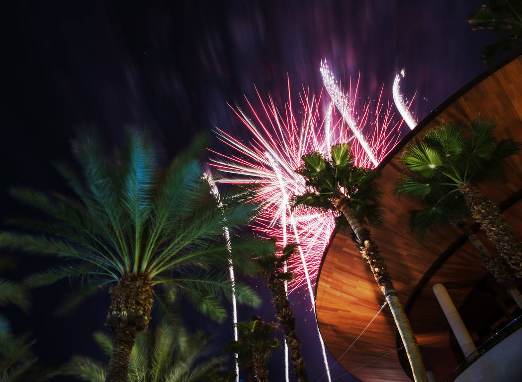 Fireworks light the sky at Red Rock hotel-casino on Tuesday, July 4, 2017, in Las Vegas. Morgan Lieberman Las Vegas Review-Journal
