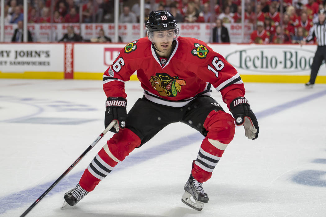 Former Blackhawk #16 Marcus Kruger in action during the National Hockey League First Round Playoff game between the Chicago Blackhawks and the Nashville Predators at the United Center in Chicago,  ...