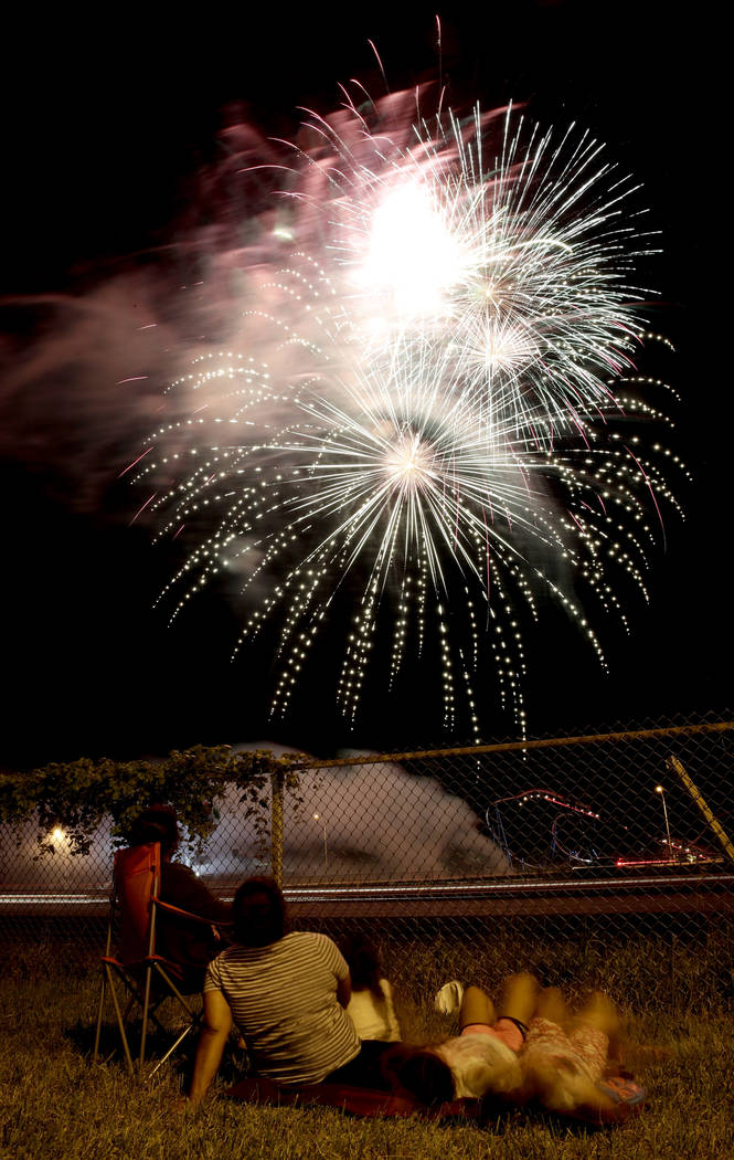 People watch a fireworks display for Independence Day at Worlds of Fun amusement park Monday, July 3, 2017, in Kansas City, Mo. (Charlie Riedel/AP)