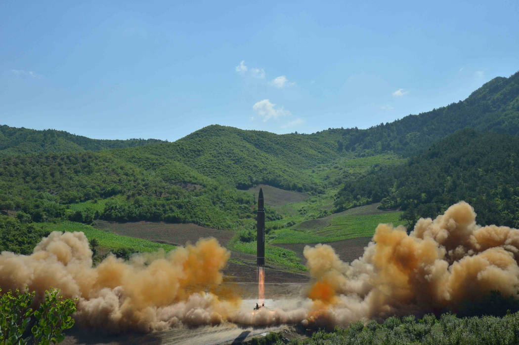 The intercontinental ballistic missile Hwasong-14 is seen during its test launch in this undated photo released by North Korea's Korean Central News Agency (KCNA) in Pyongyang, July, 4 2017. KCNA/ ...