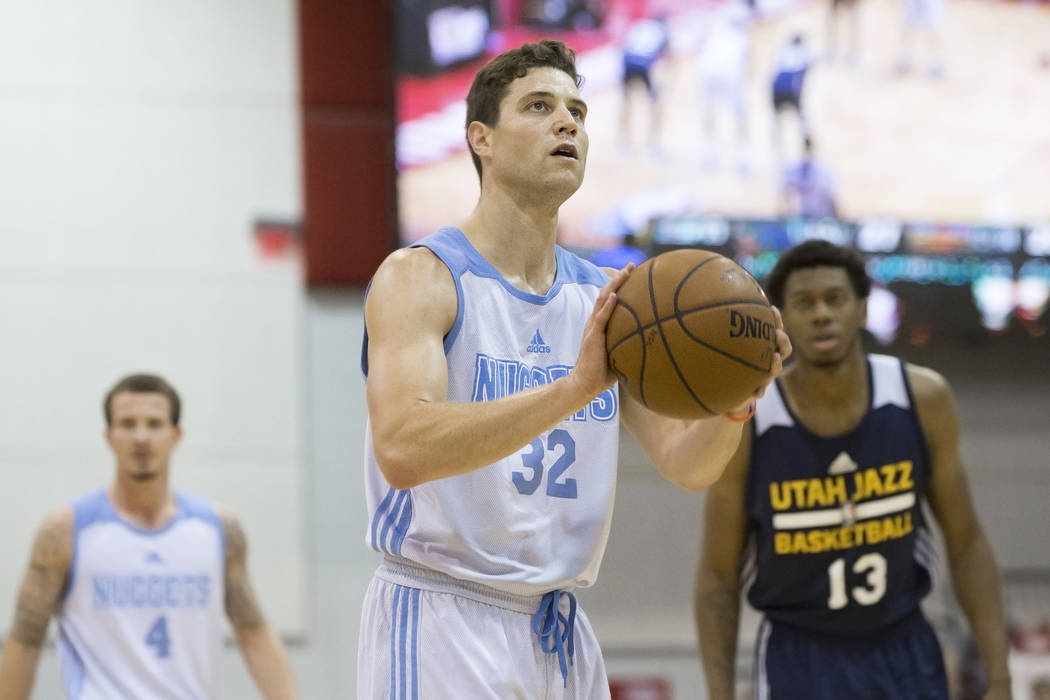 Denver Nuggets guard Jimmer Fredette (32) shoots a free throw during the NBA Summer League tournament at Cox Pavilion at UNLV on Thursday, July 14, 2016, in Las Vegas. Benjamin Hager/Las Vegas Rev ...