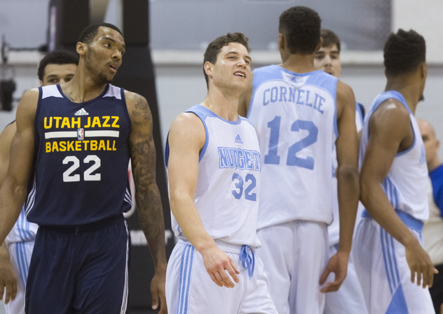 Denver Nuggets guard Jimmer Fredette (32) reacts to watching a replay during the NBA Summer League tournament at Cox Pavilion at UNLV on Thursday, July 14, 2016, in Las Vegas. (Benjamin Hager/Las  ...