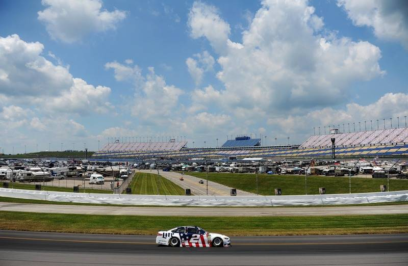 Jul 7, 2017; Sparta, KY, USA; NASCAR Cup Series driver Brad Keselowski (2) drives toward turn four during practice for the Quaker State 400 at Kentucky Speedway. Mandatory Credit: Christopher Hane ...
