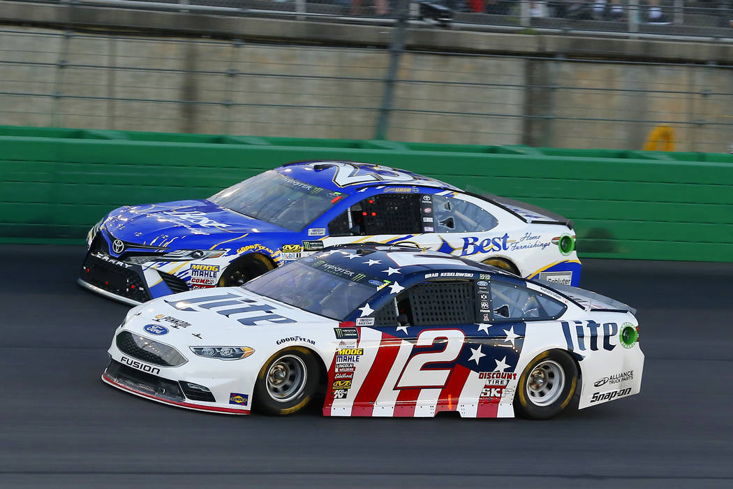 Brad Keselowski (2) and Joey Gase (23) during the NASCAR Quaker State 400 race at Kentucky Speedway, Saturday, July 8, 2017, in Sparta, Ky. (Russell LaBounty/NKP via AP) MANDATORY CREDIT