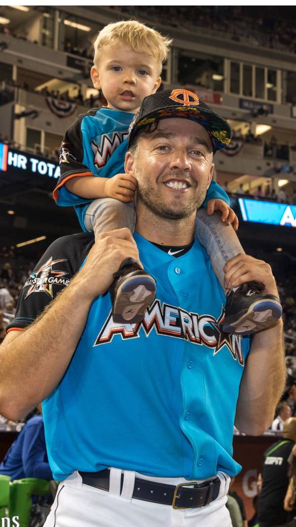Minnesota Twins relief pitcher Brandon Kintzler and son, Knox, were on hand for the baseball All-Star Game at Marlins Park in Miami. (Rick Kintzler)
