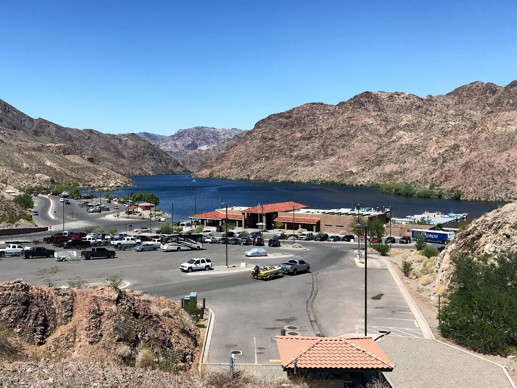 Willow Beach sits on a wide bend in the Colorado River about 12 miles below Hoover Dam as the crow flies. The marina offers boat rentals, a store and launching facilities. Doug Nielsen