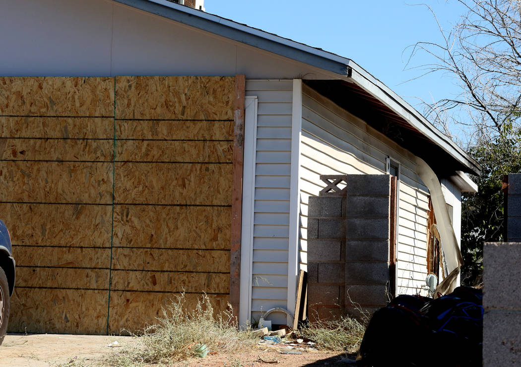 A home at 7404 Bagdad Court was damaged by an early morning fire on Wednesday, July 5, 2017, in Las Vegas. (Bizuayehu Tesfaye/Las Vegas Review-Journal) @bizutesfaye