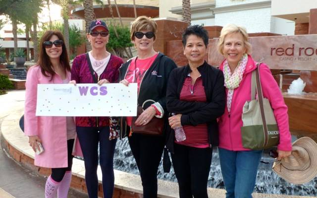 Women's Club of Summerlin members get ready to walk for a good cause - Making Strides Against Breast Cancer -  in 2016. Seen left to right are: Michelle Walden Fink, Barbro Eastling, Sylvia DeCh ...