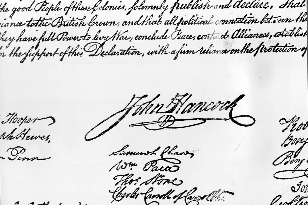 John Hancock's signature on the Declaration of Independence, which was formally signed by 56 members of Congress beginning Aug. 2, 1776. (AP file)