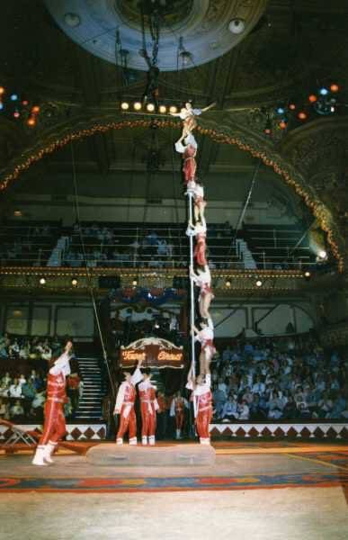Getti Kehayova participating in seven person teeter board in the Ringling Brothers and Barnum and Bailey Circus. Courtesy of Getti Kehayova