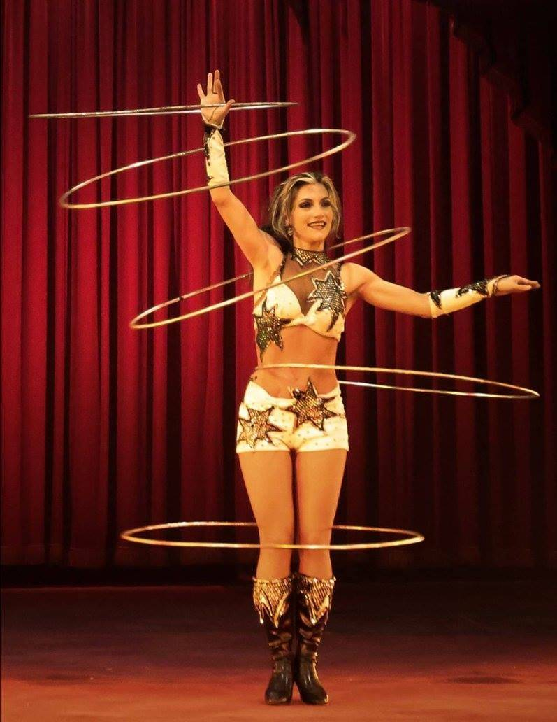 Getti Kehayova performing hula hoop tricks in the Ringling Brothers and Barnum and Bailey Circus. Courtesy of Getti Kehayova