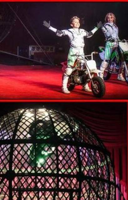 Getti Kehayova's son, Maximus, performing in the globe of death act in the Ringling Brothers and Barnum and Bailey Circus. Courtesy of Getti Kehayova