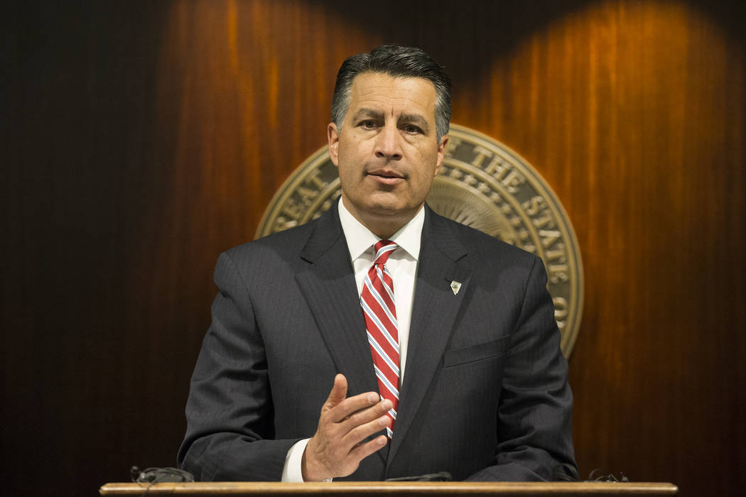 Nevada Gov. Brian Sandoval speaks during a press conference on health care at the Sawyer Building in Las Vegas, June 23, 2017. (Erik Verduzco/Las Vegas Review-Journal)