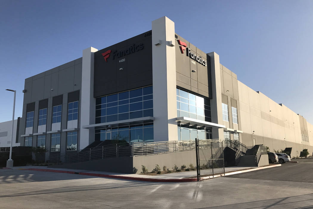 The entrance to Fanatics' new distribution center in North Las Vegas. The state promised Fanatics $813,790 in tax incentives for the move. Fanatics