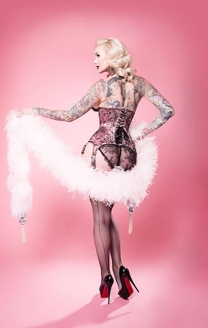 "The former ""Jubilee"" dancer Sabina Kelley was the first heavily tattooed showgirl to headline on the Las Vegas Strip. (Sherbet Birdie)"