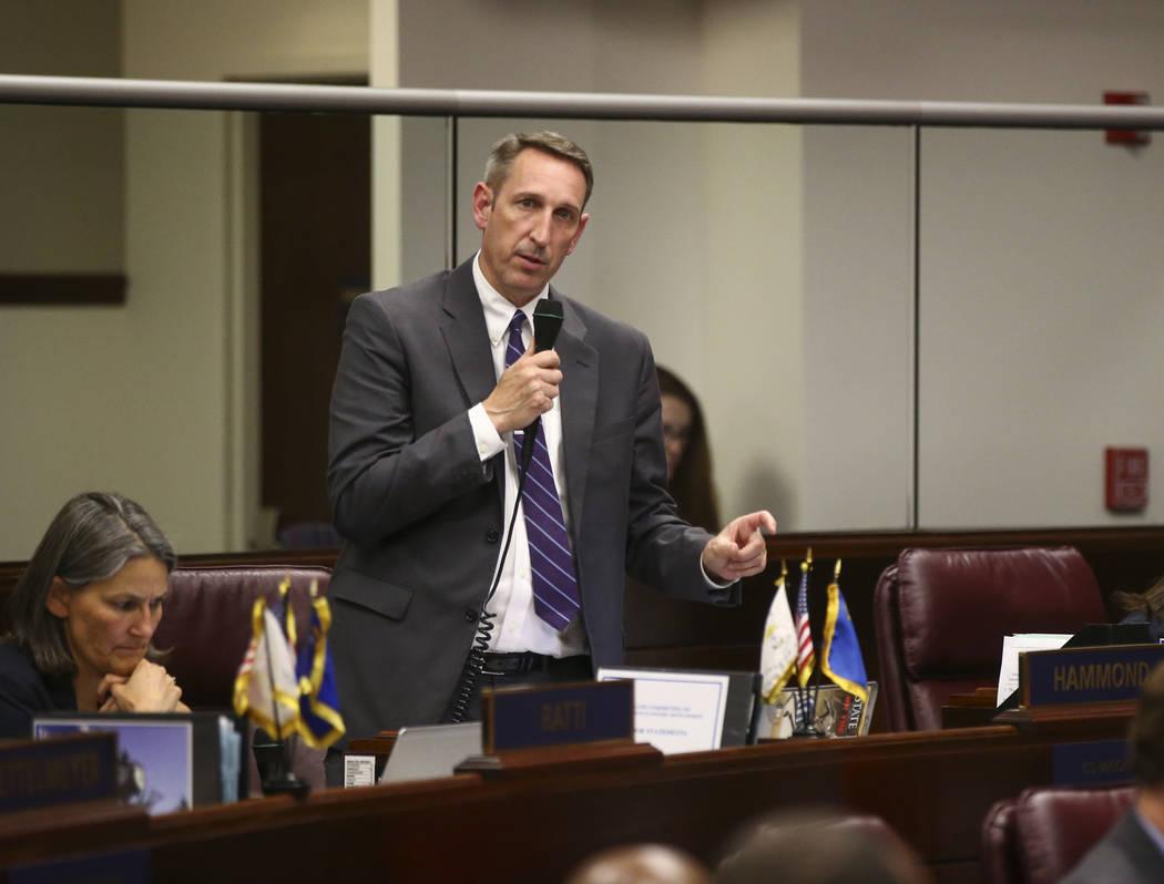 Sen. Scott Hammond, R-Las Vegas, talks about Senate Bill 555 during the second to last day of the Nevada Legislature at the Legislative Building in Carson City on Sunday, June 4, 2017. Chase Steve ...