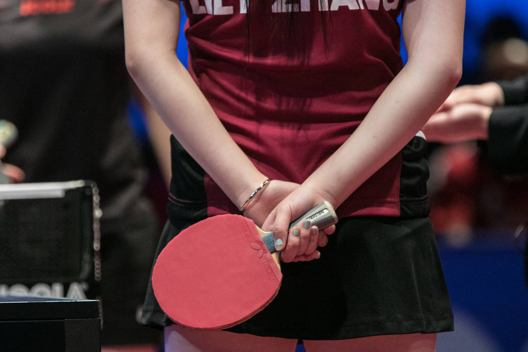 "Lily Zhang prepares for the match at the USA Table Tennis 2017 Supermicro National Championship ""Final Table Celebration""at Silverton hotel-casino on Friday, July 7, 2017, in Las Veg ..."