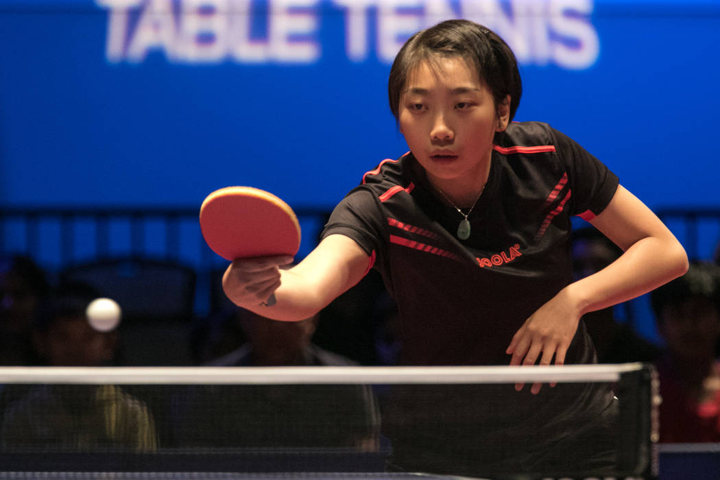"Jennifer Wu hits the ball back to Lily Zhang during the USA Table Tennis 2017 Supermicro National Championship ""Final Table Celebration""at Silverton hotel-casino on Friday, July 7, 2 ..."