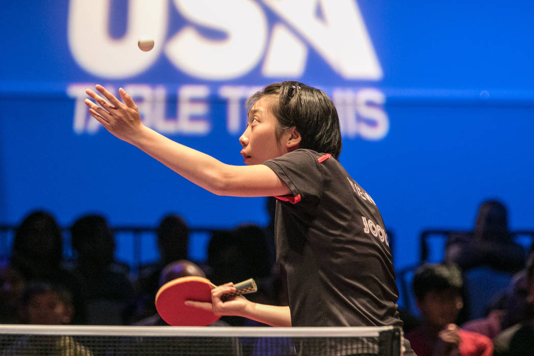 "Jennifer Wu serves the ball during the USA Table Tennis 2017 Supermicro National Championship ""Final Table Celebration""at Silverton hotel-casino on Friday, July 7, 2017, in Las Vegas ..."