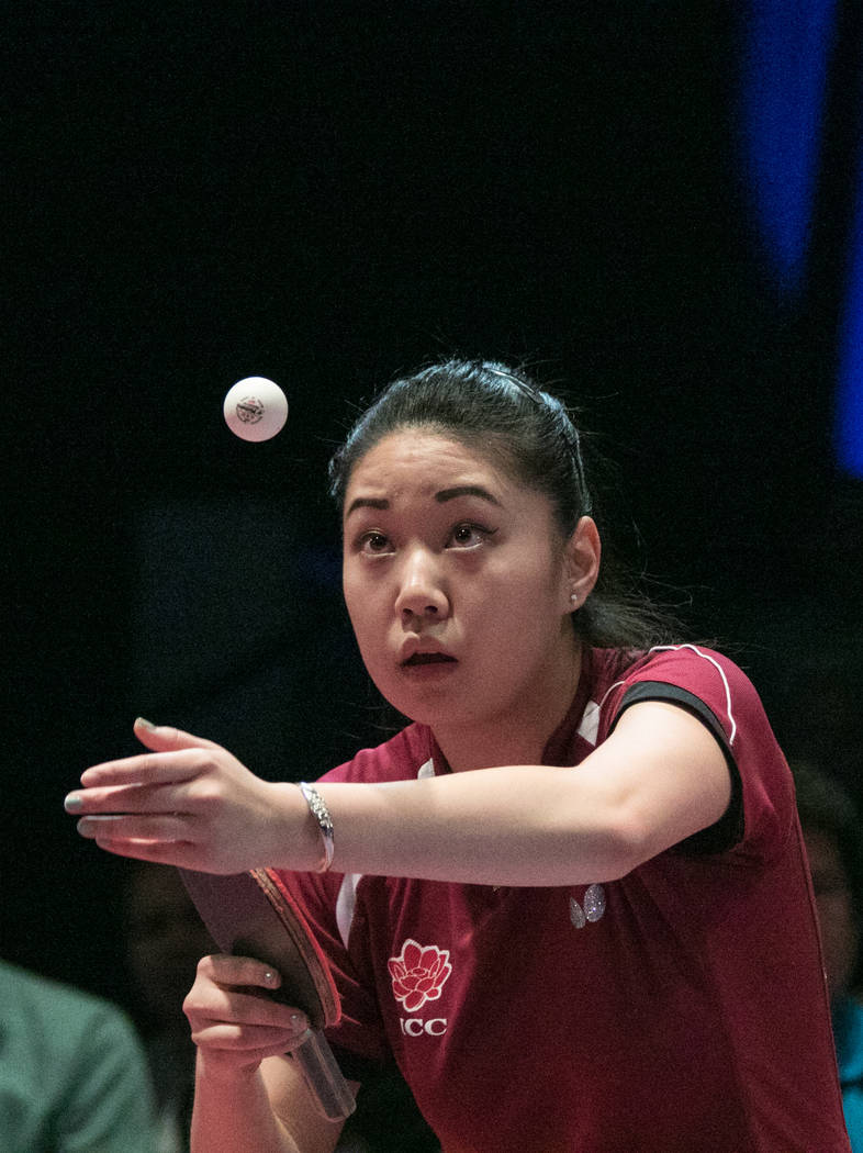 "Lily Zhang serves the ball during the USA Table Tennis 2017 Supermicro National Championship ""Final Table Celebration""at Silverton hotel-casino on Friday, July 7, 2017, in Las Vegas. ..."