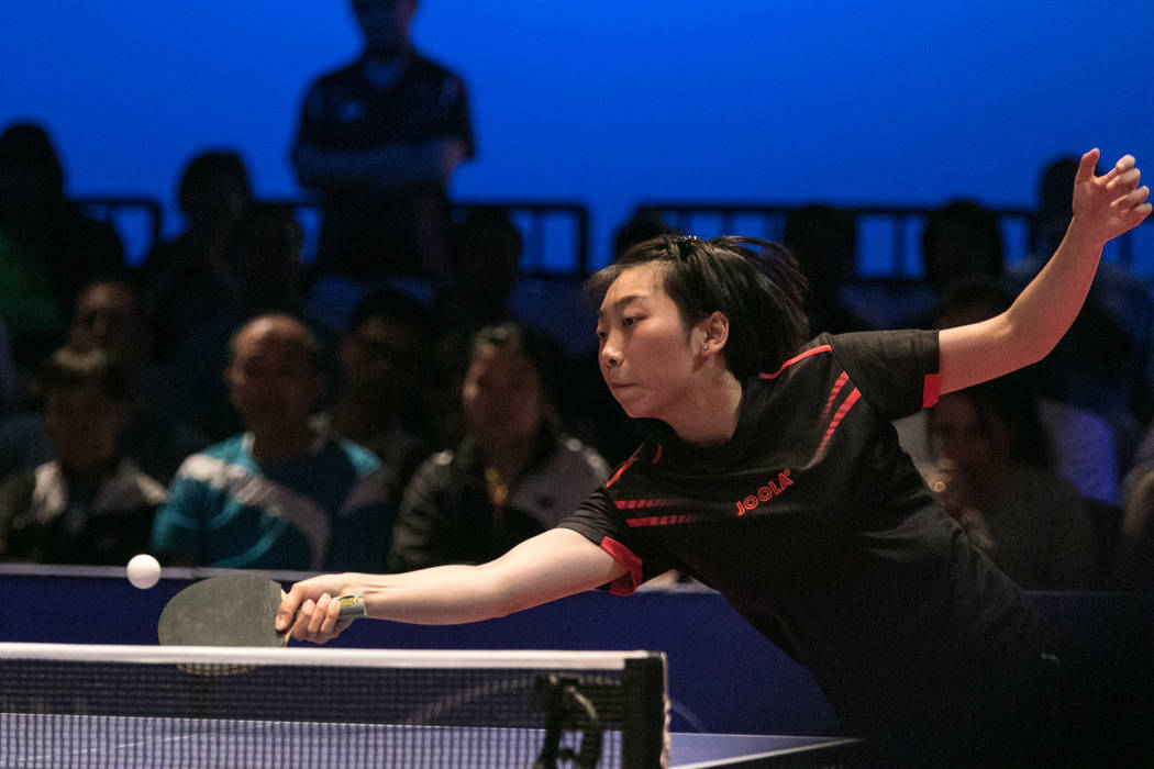 "Jennifer Wu returns the ball during the USA Table Tennis 2017 Supermicro National Championship ""Final Table Celebration""at Silverton hotel-casino on Friday, July 7, 2017, in Las Vega ..."