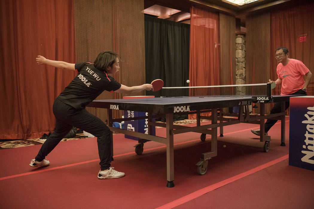 "Jennifer Wu warming up in the practice room with her coach, Santos Shih, for the USA Table Tennis 2017 Supermicro National Championship ""Final Table Celebration""at Silverton hotel-ca ..."