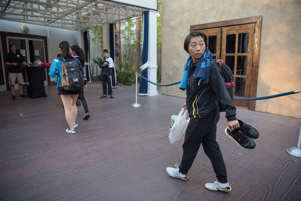 "Jennifer Wu walks towards the arena at the USA Table Tennis 2017 Supermicro National Championship ""Final Table Celebration""at Silverton hotel-casino on Friday, July 7, 2017, in Las V ..."