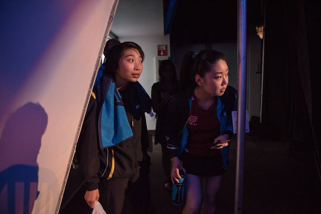 "Jennifer Wu and Lily Zhang observing the crowd before the USA Table Tennis 2017 Supermicro National Championship ""Final Table Celebration""at Silverton hotel-casino on Friday, July 7, ..."