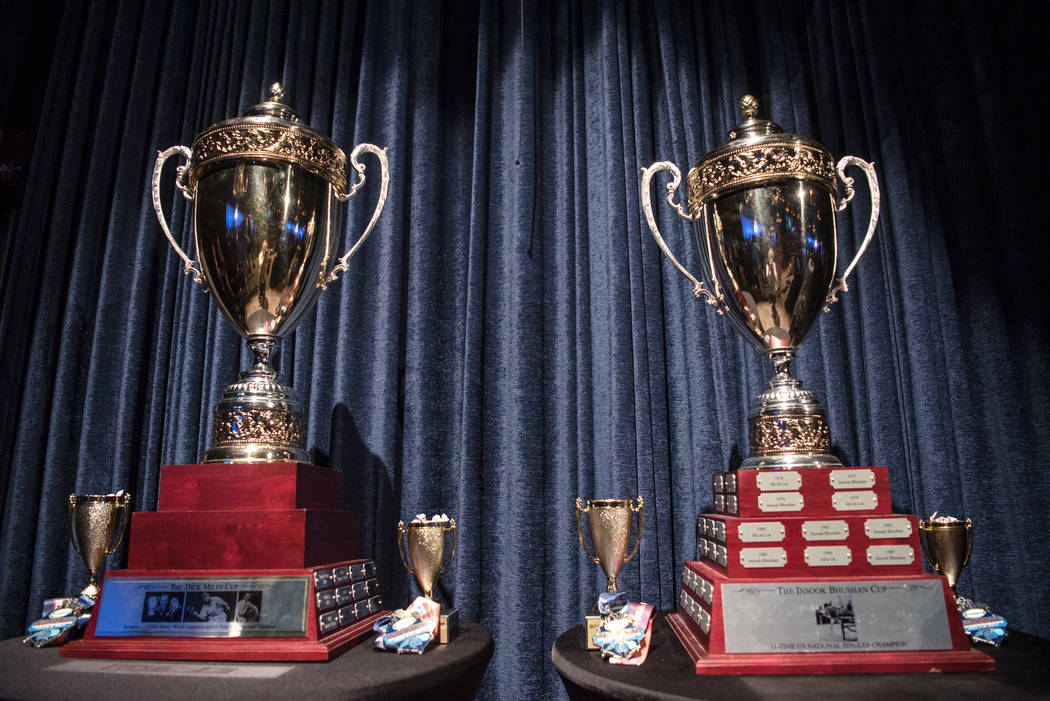 "The men's and women's trophies on display at the USA Table Tennis 2017 Supermicro National Championship ""Final Table Celebration""at Silverton hotel-casino on Friday, July 7, 2017, in ..."