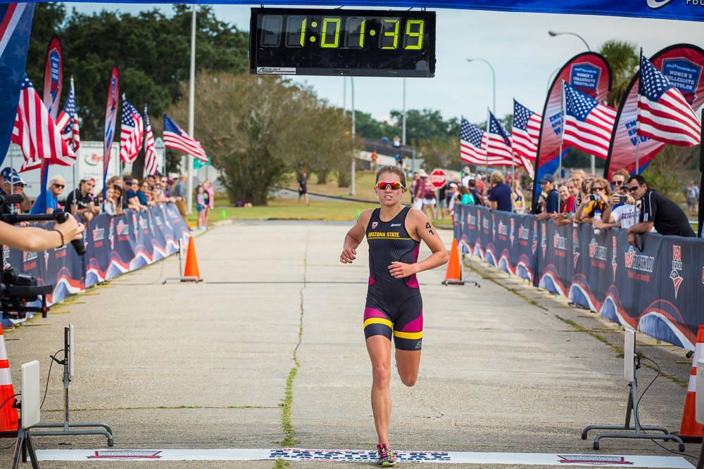 Katie Gorczyca runs at the NCAA Triathlon Championships in New Orleans on Nov. 5, 2016. (Julie Verlinden)