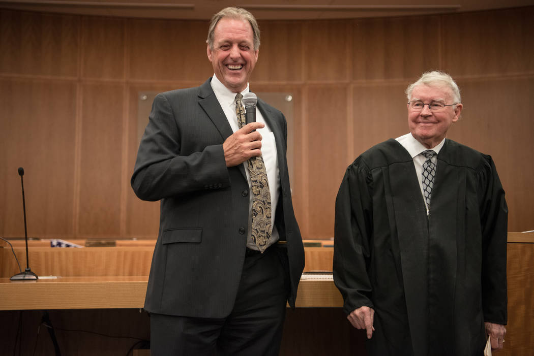 Mayor John Lee with U.S. District Court Judge Lloyd D. George after his swearing in ceremony at North Las Vegas City Hall on Wednesday, July 5, 2017, in Las Vegas. Morgan Lieberman Las Vegas Revie ...