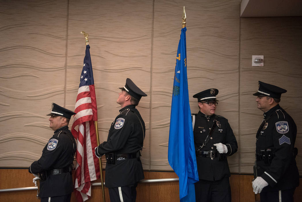 The North Las Vegas Police Department Honor Guard waits for the presentation of colors at North Las Vegas City Hall on Wednesday, July 5, 2017, in Las Vegas. Morgan Lieberman Las Vegas Review-Journal