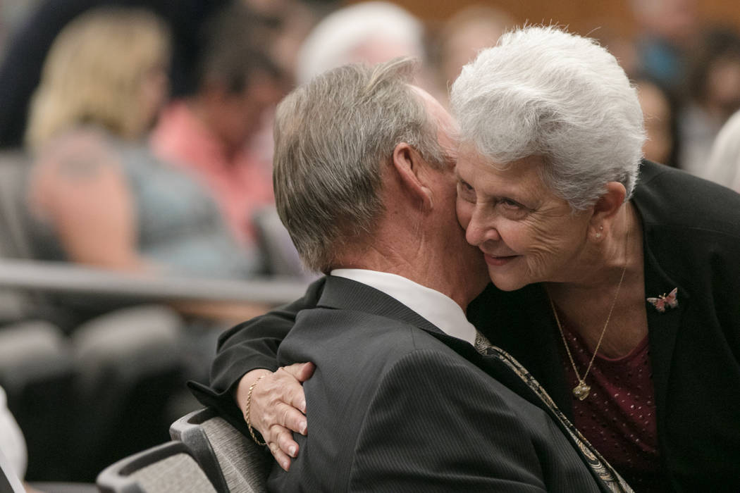 Gloria Cherchio embraces Mayor John Lee before his swearing in ceremony at North Las Vegas City Hall on Wednesday, July 5, 2017, in Las Vegas. Morgan Lieberman Las Vegas Review-Journal