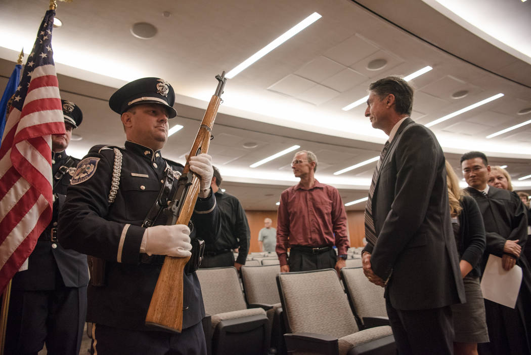 Officer Centuolo leading the North Las Vegas Police Department Honor Guard at North Las Vegas City Hall on Wednesday, July 5, 2017, in Las Vegas. Morgan Lieberman Las Vegas Review-Journal