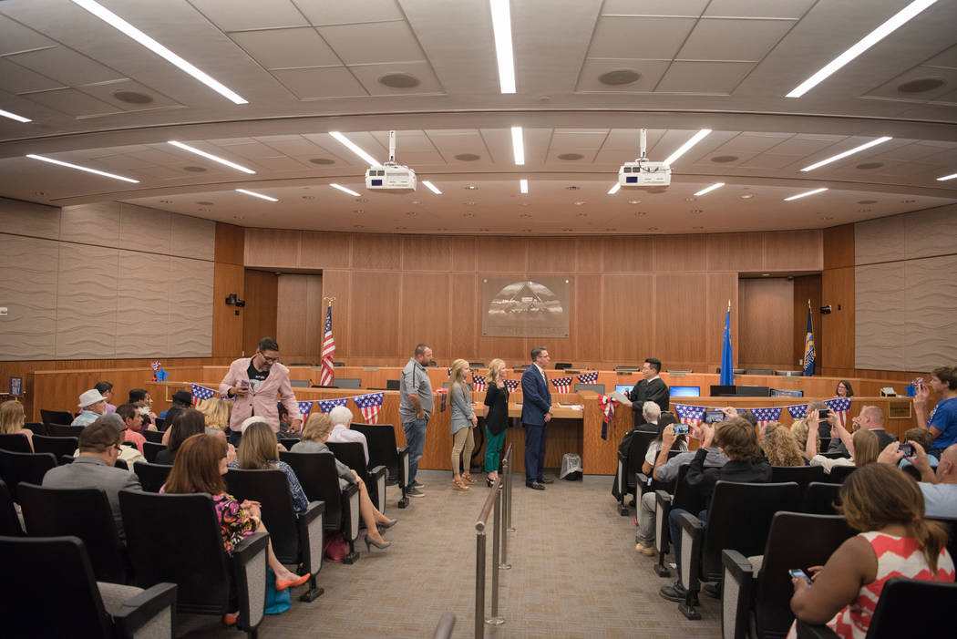 Councilman Scott Black being sworn in by Justice Court Judge Kalani Hoo at North Las Vegas City Hall on Wednesday, July 5, 2017, in Las Vegas. Morgan Lieberman Las Vegas Review-Journal