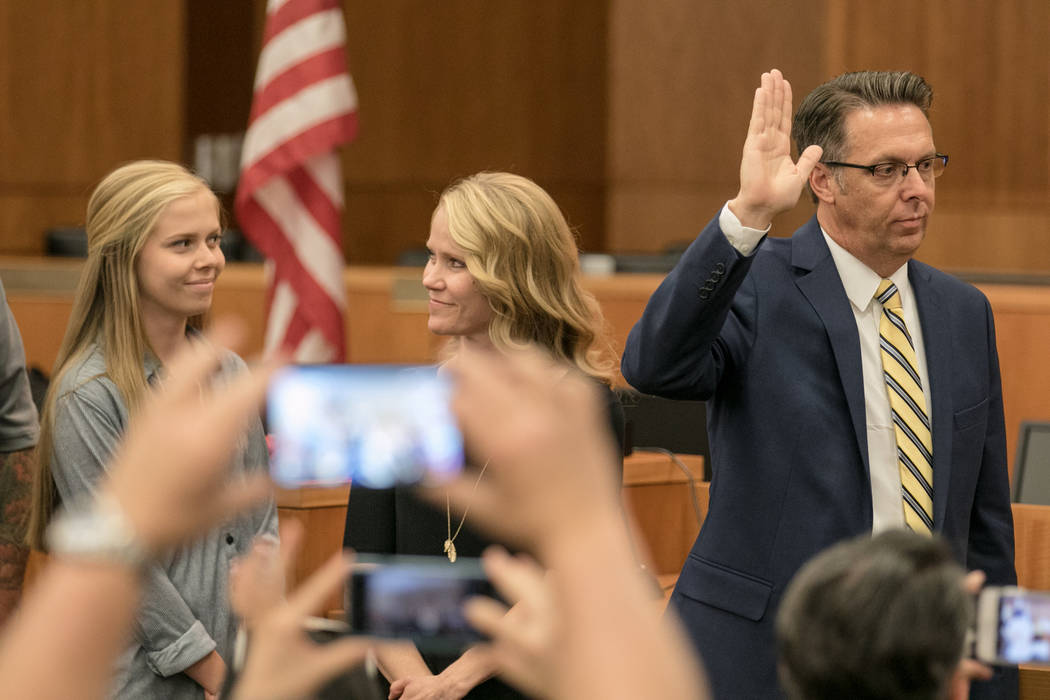 Councilman Scott Black being sworn in at North Las Vegas City Hall on Wednesday, July 5, 2017, in Las Vegas. Morgan Lieberman Las Vegas Review-Journal