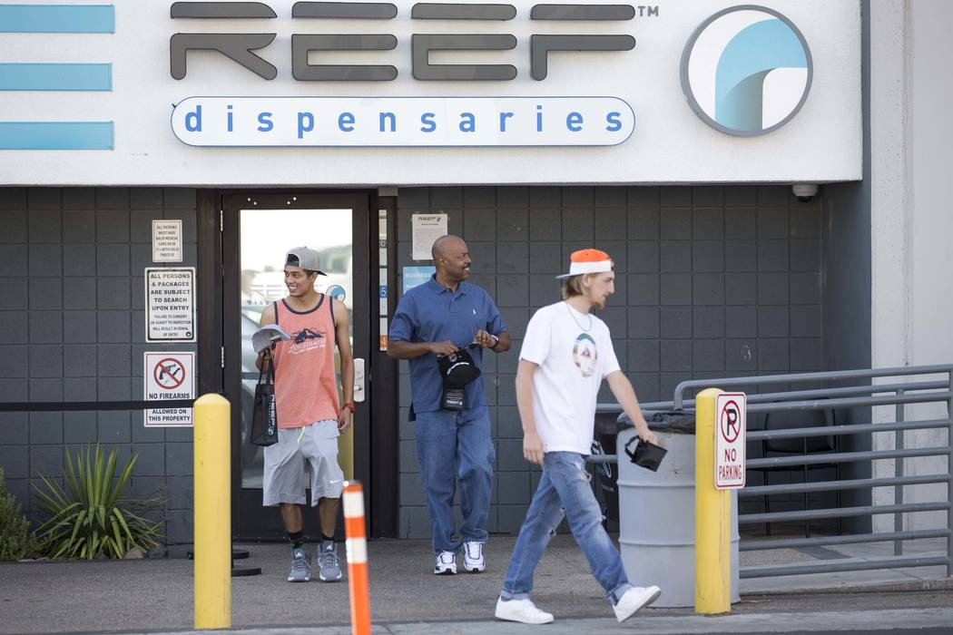 Customers leave Reef Dispensaries at 3400 Western Ave., near West Desert Inn Road and Sammy Davis Jr. Drive, in Las Vegas on Thursday, July 6, 2017. Firefighters responded to a small fire at the s ...