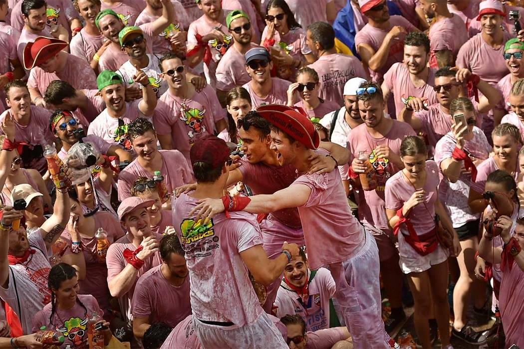 Revellers party during the launching of the ''Chupinazo'' rocket, to celebrate the official opening of the 2017 San Fermin Fiestas in Pamplona, Spain, Thursday July 6, 2017. The first of eight day ...