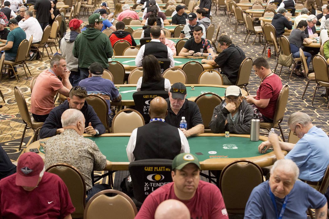 Tables are filled with players at the Rio Convention Center on Tuesday, May 30, 2017 in Las Vegas.  The 48th annual WSOP begins Wednesday and will continue for the following seven and a half weeks ...