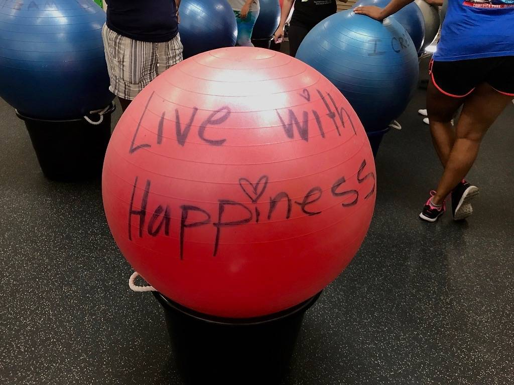 Each exercise ball at Area 51 Fit bears an inspirational message. (Madelyn Reese/View) @MadelynGReese
