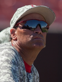 UNLV baseball head coach Tim Chambers watches the action as his team plays Air Force at Wilson Stadium in Las Vegas on Sunday.