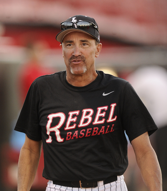 UNLV head coach Tim Chambers looks on during baseball practice at Earl E. Wilson Stadium, on the campus of UNLV in Las Vegas, Tuesday, Feb. 10, 2015.(Josh Holmberg/Las Vegas Review-Journal)