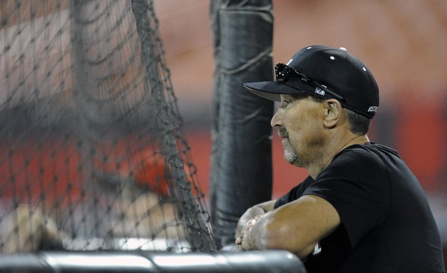 UNLV head coach Tim Chambers looks on during baseball practice at Earl E. Wilson Stadium, on the campus of UNLV in Las Vegas, Tuesday, Feb. 10, 2015.(Josh Holmberg/Las Vegas Review Journal)